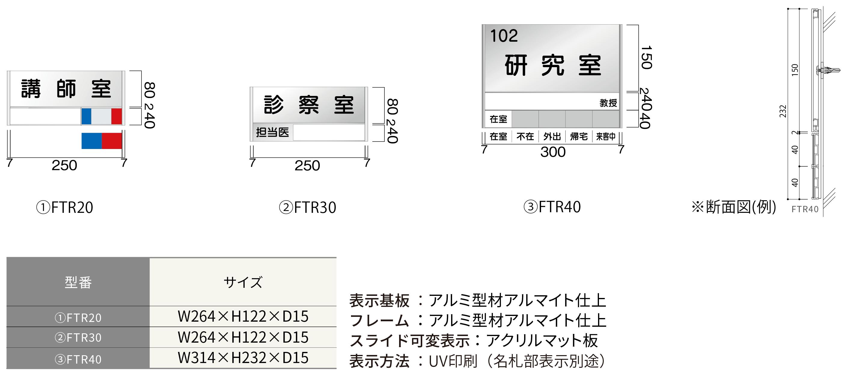 ルームサイン:フリーサイズプレート 正面型氏名表示付き