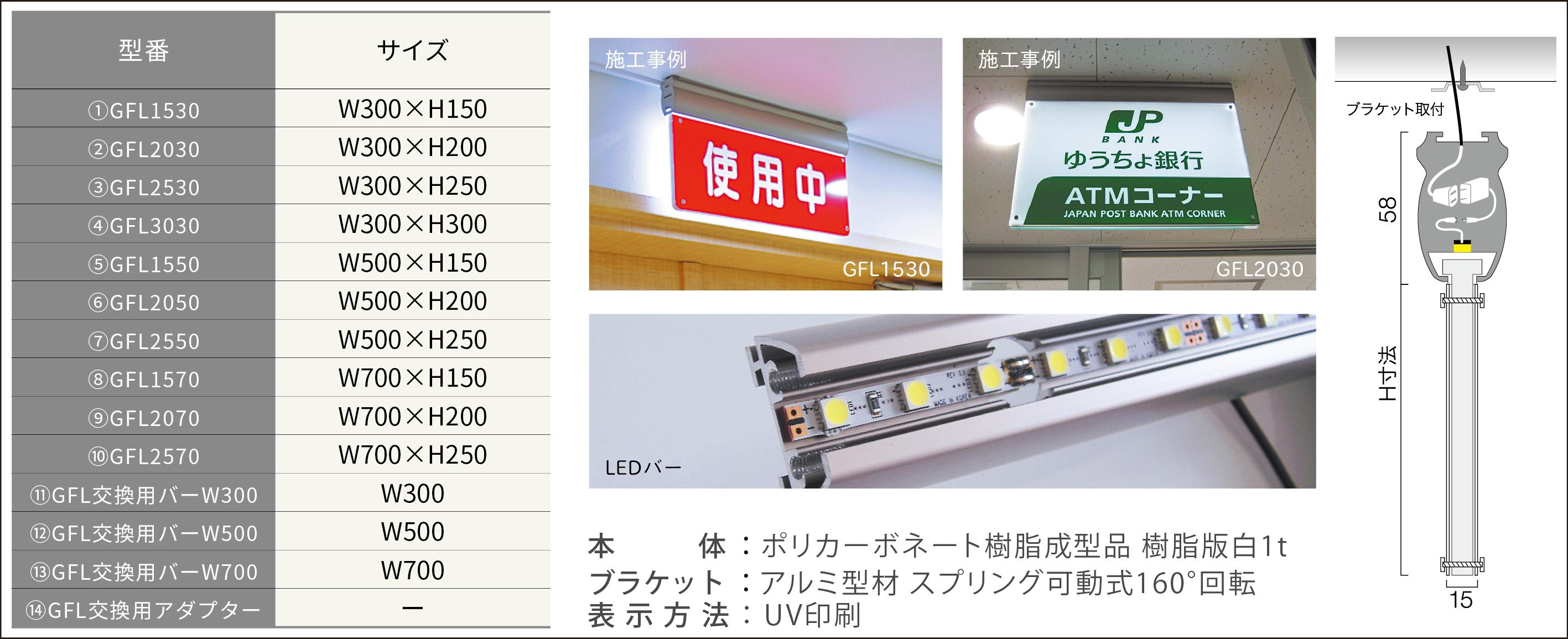 ルームサイン:LEDサイン吊下型